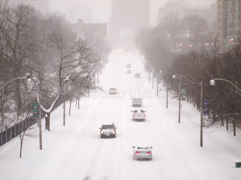 La tempesta dell'inverno colpisce Toronto immagine stock libera da diritti
