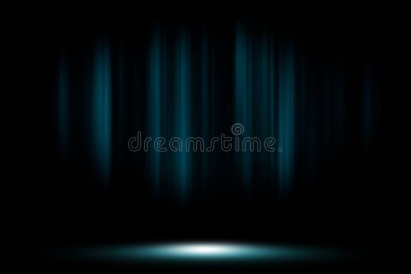 La tenda blu in scena fuma il fondo dello studio illustrazione di stock