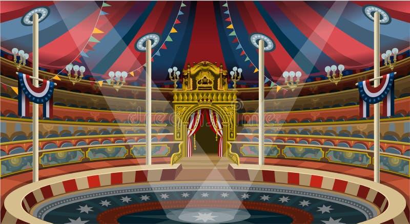 La tenda dell'insegna di carnevale del circo invita il vettore Illustratio del parco a tema illustrazione vettoriale