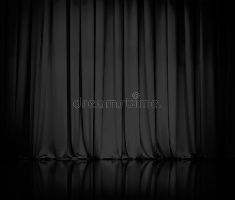 La tenda o copre il fondo nero del teatro fotografia stock