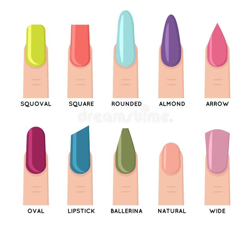 La tendenza che di modo la forma femminile del manicure dell'unghia forma le icone isolate ha messo l'illustrazione piana di vett illustrazione di stock