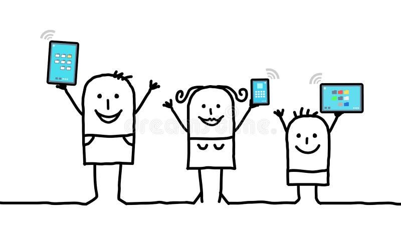 La tenencia de la familia de la historieta conectó las tabletas y los teléfonos digitales stock de ilustración
