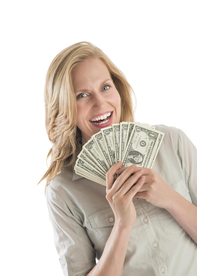 La Tenencia De La Mujer Avivó Los Billetes De Dólar Uno Foto de archivo libre de regalías