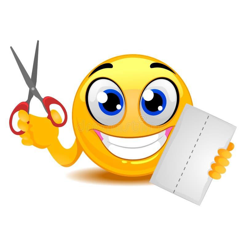 La tenencia de Smiley Emoticon Scissor y empapela ilustración del vector