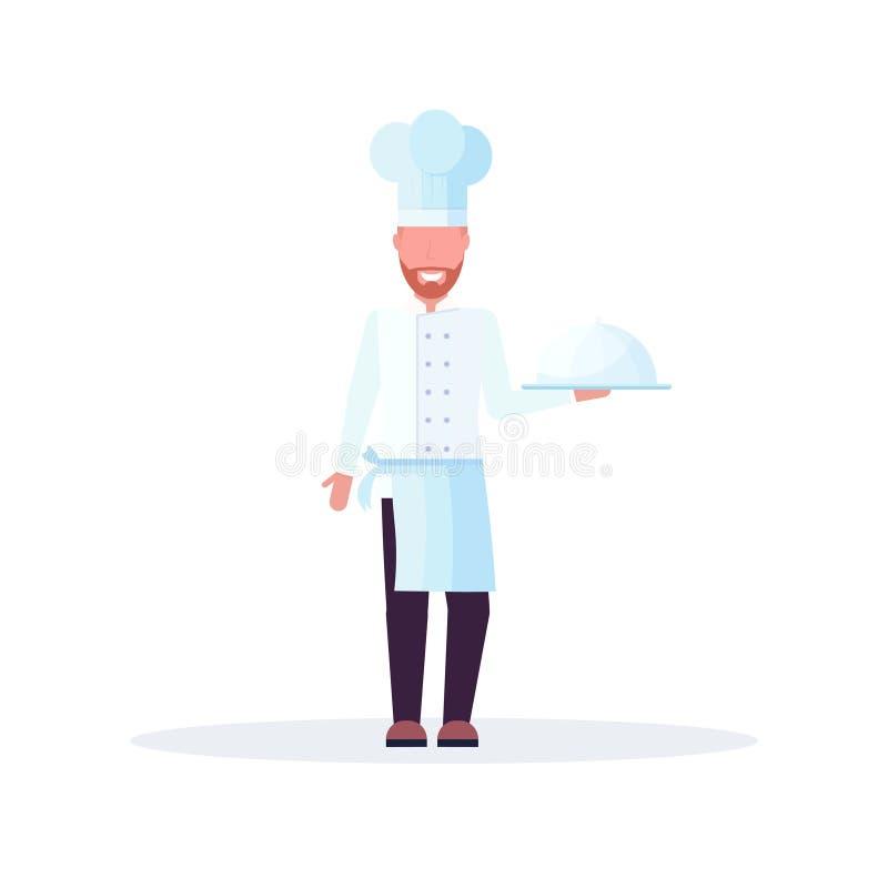 La tenencia del cocinero del cocinero cubrió el disco con el hombre del plato en comida profesional uniforme del empleo que cocin libre illustration