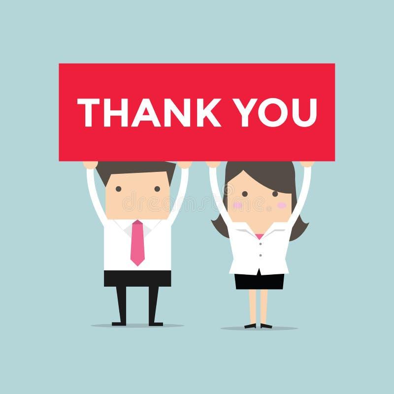 La tenencia del hombre de negocios y de la empresaria le agradece firmar libre illustration