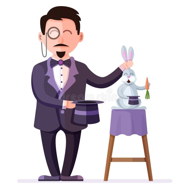 La tenencia del mago entrenó al conejo con la zanahoria y el sombrero de la magia Ejemplo del vector de Colorful del ilusionista  stock de ilustración