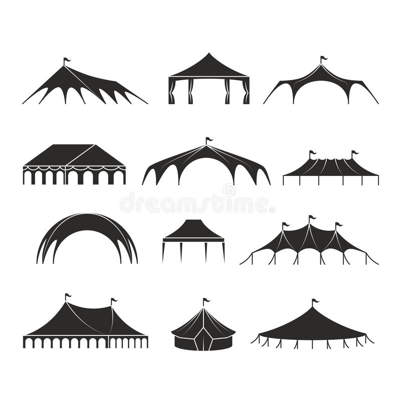 La tente d'abri extérieure, tentes de pavillon d'événement dirigent des icônes illustration stock
