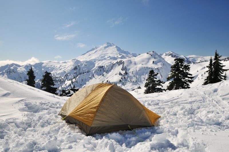 La tente a placé en stationnement national de boulanger de mt photo stock