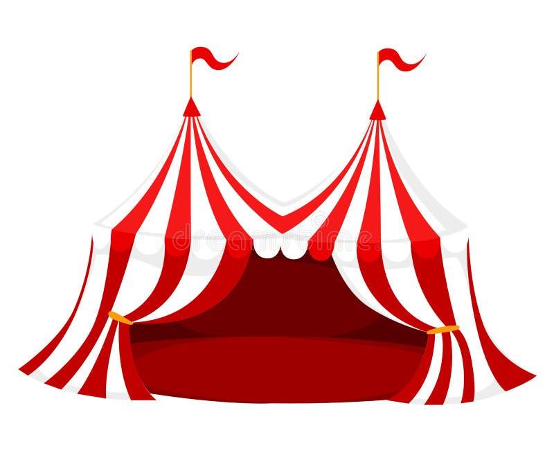La tente rouge et blanche de cirque ou de carnaval avec des drapeaux et le plancher rouge dirigent l'illustration à la page blanc illustration de vecteur