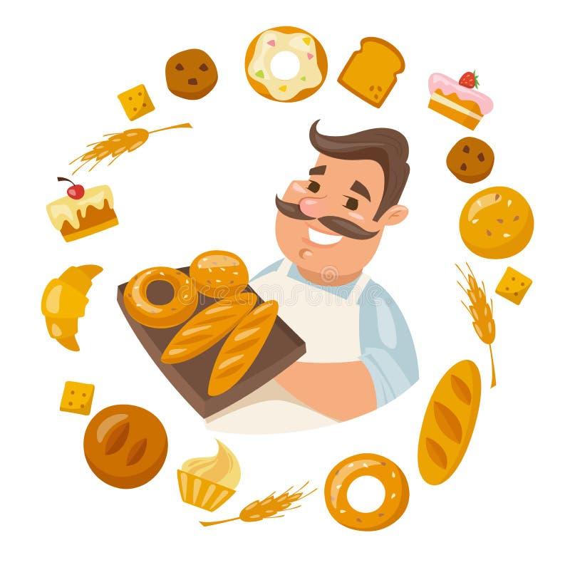 La tenuta sorridente maschio del carattere del fumetto è cresciuto con le icone del pane dei differends intorno illustrazione di stock