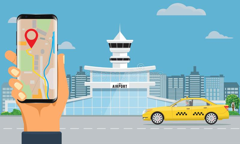 La terminal de aeropuerto y el taxi amarillo dan sostener el taxi de la reservación del smartphone Color plano y sólido del fondo libre illustration