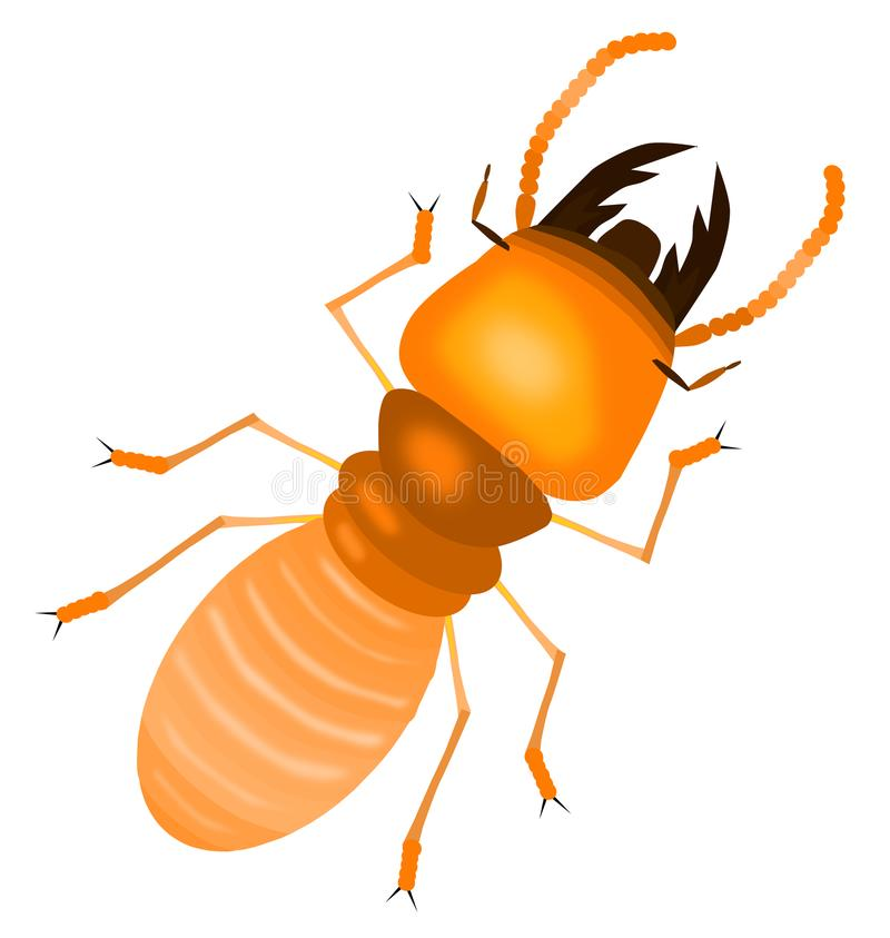 La termite con la terra della parte posteriore di bianco, stile del fumetto, ha isolato l'illustrazione di vettore illustrazione di stock
