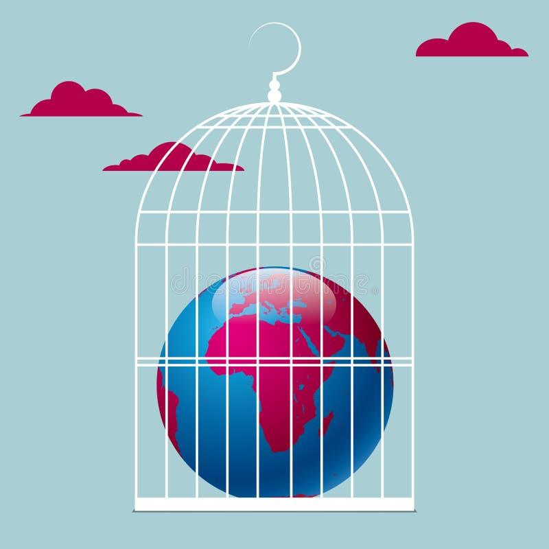 La terra è in una gabbia per uccelli illustrazione di stock