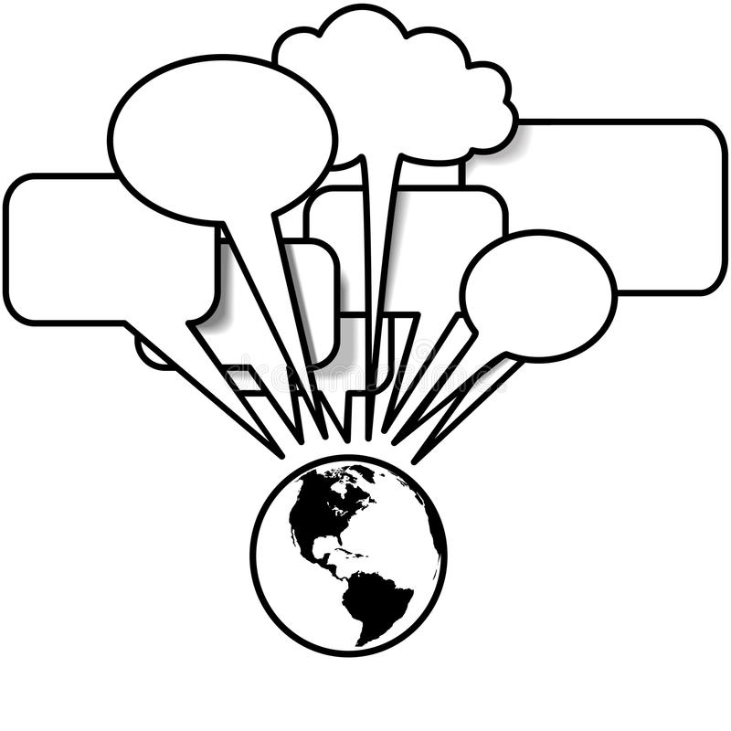 La terra comunica il copyspace della bolla di discorso di tweets dei blog royalty illustrazione gratis