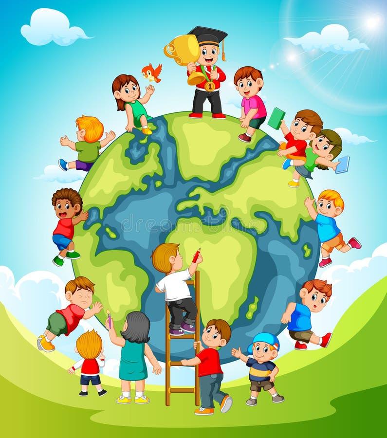 La terra con i bambini che la bighellonano royalty illustrazione gratis