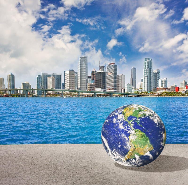 La terra del pianeta va a Miami Florida illustrazione di stock