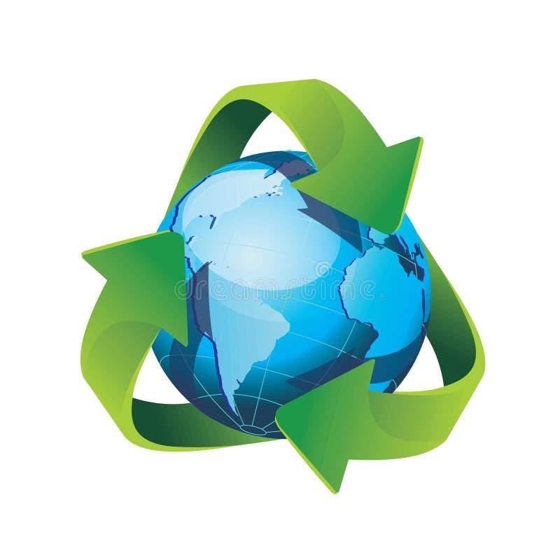 La terra di vettore ricicla il segno illustrazione di stock