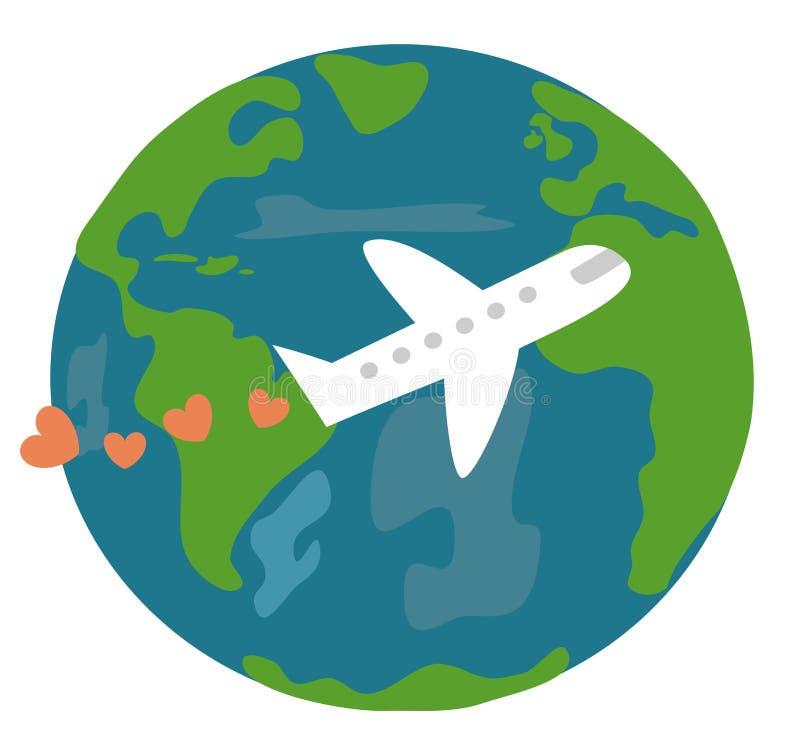 La terra e l'aereo svegli del fumetto con i cuori amano il viaggio l'illustrazione di vettore di concetto del mondo illustrazione di stock