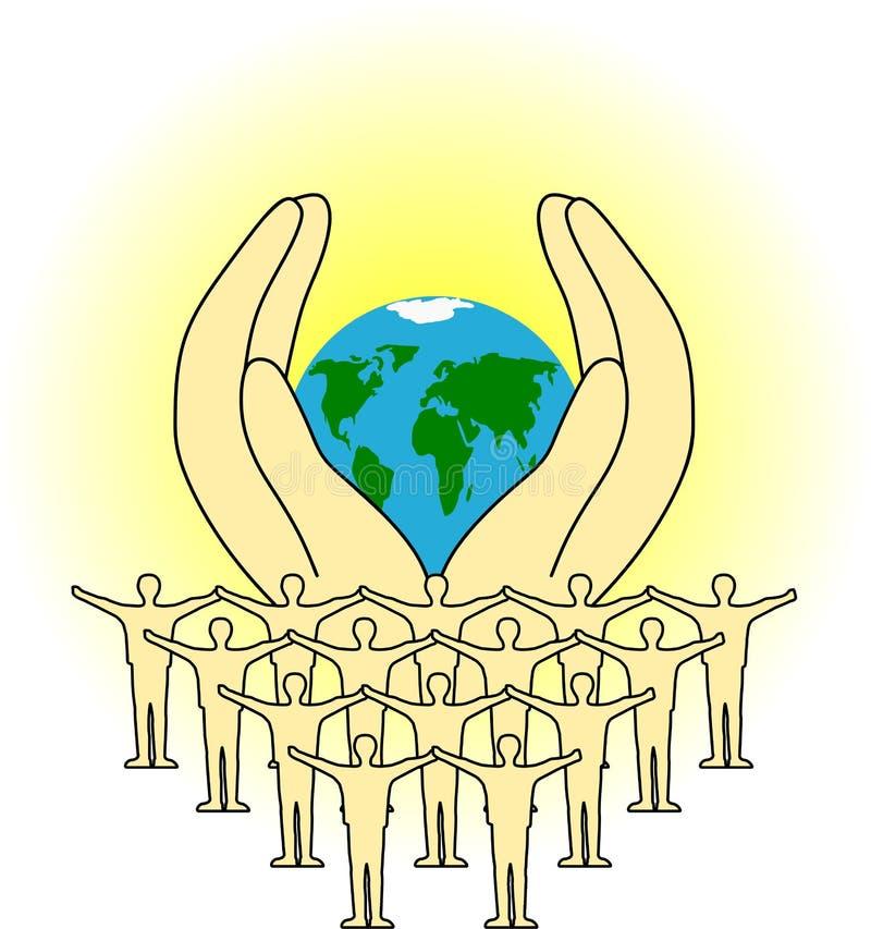 La terra in mani umane illustrazione di stock