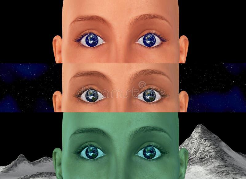 La terra osserva l'esplorazione spaziale dell'universo illustrazione di stock