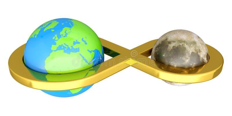 La terra si è collegata con la luna illustrazione vettoriale