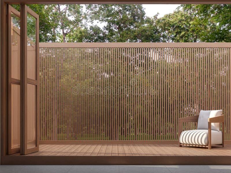 La terrasse en bois avec la vue 3d de nature rendent illustration de vecteur