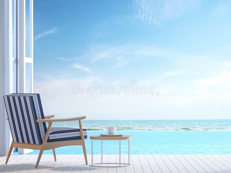 La terraza blanca 3d del chalet de la piscina rinde ilustración del vector