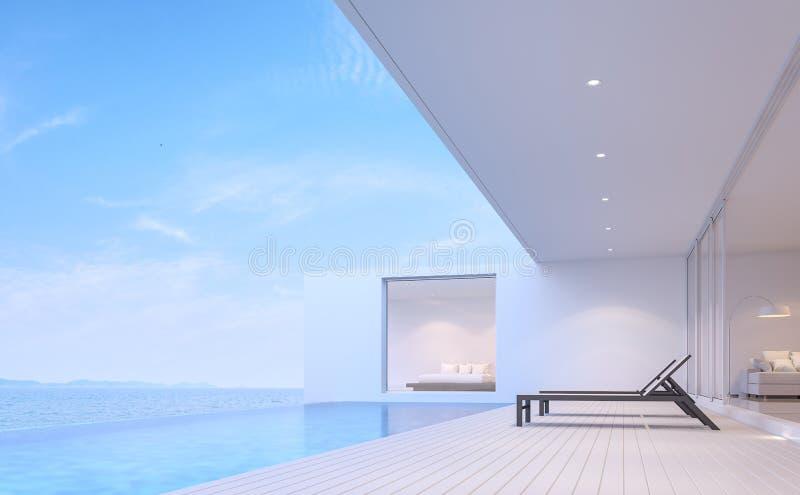 La terraza 3d del chalet de la piscina rinde libre illustration