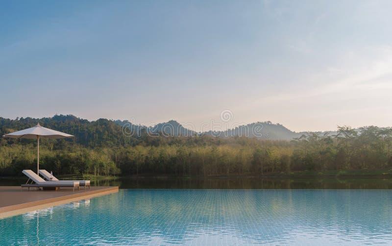 La terraza de la piscina y la naturaleza hermosa ven imagen de la representación 3d stock de ilustración