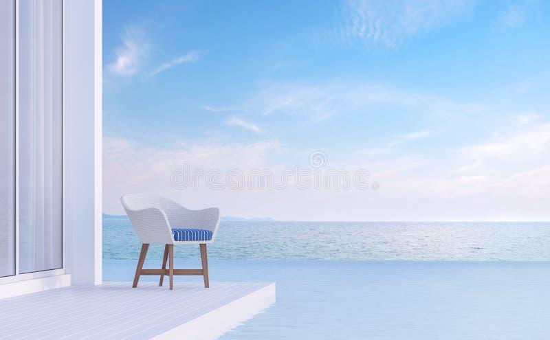La terraza del chalet de la piscina con la opinión 3d del mar rinde, suministrado con la silla blanca y azul stock de ilustración