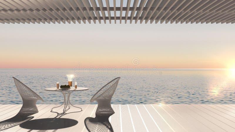 La terraza moderna minimalista con relaja el área, las butacas y la tabla f libre illustration
