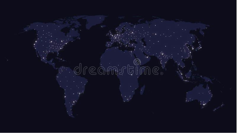 La terre à la carte du monde de nuit illustration libre de droits