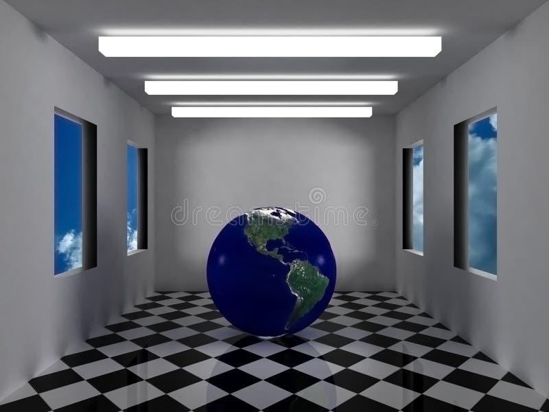 La terre à l'intérieur de la pièce grise futuriste photographie stock