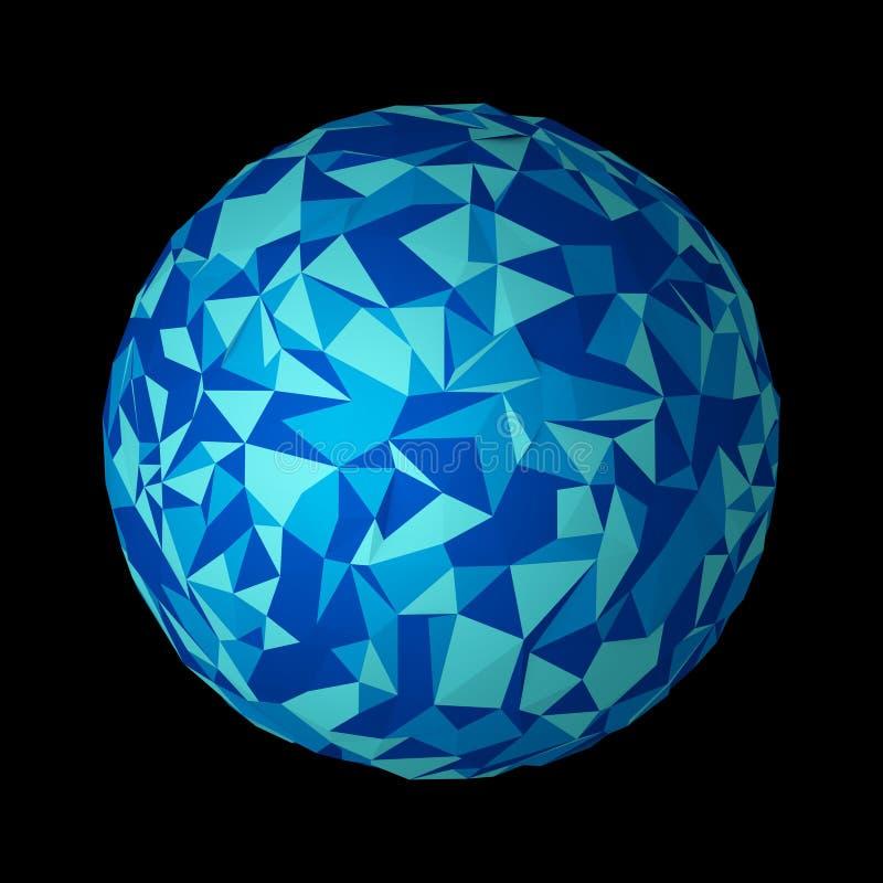 La terre abstraite de planète Boule bleue de forme de sphère de technologie dans le digi illustration libre de droits