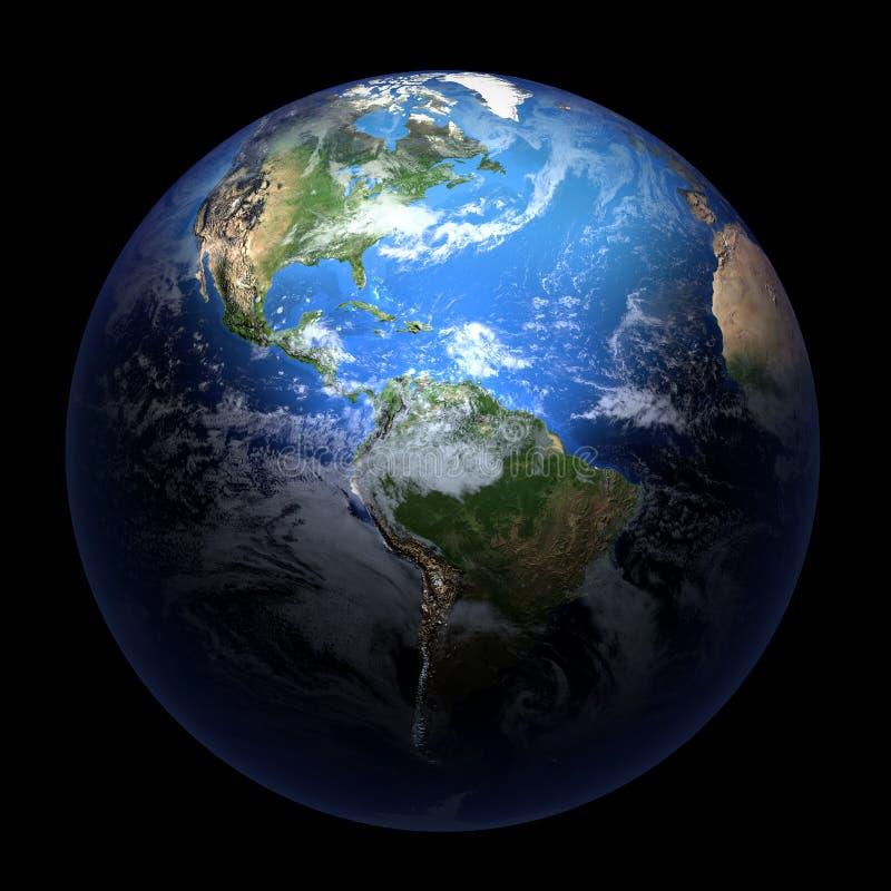 La terre affichant l'Amérique sur le noir solide illustration stock