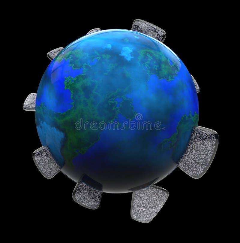 La terre aiment la planète avec des écrans de TV illustration stock