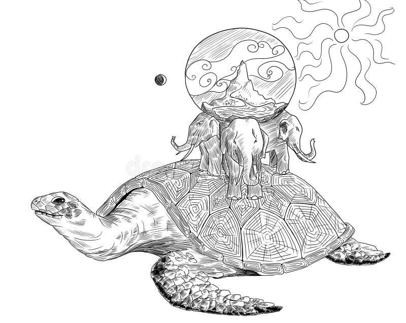 La terre antique sur la tortue et trois éléphants illustration stock