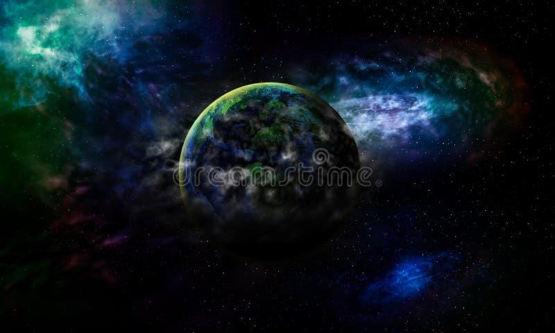 La terre astrologique de planète de fond de la Science est couverte par le gaz b illustration libre de droits