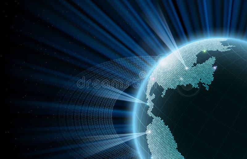 La terre avec des données d'orbite Grandes données illustration libre de droits