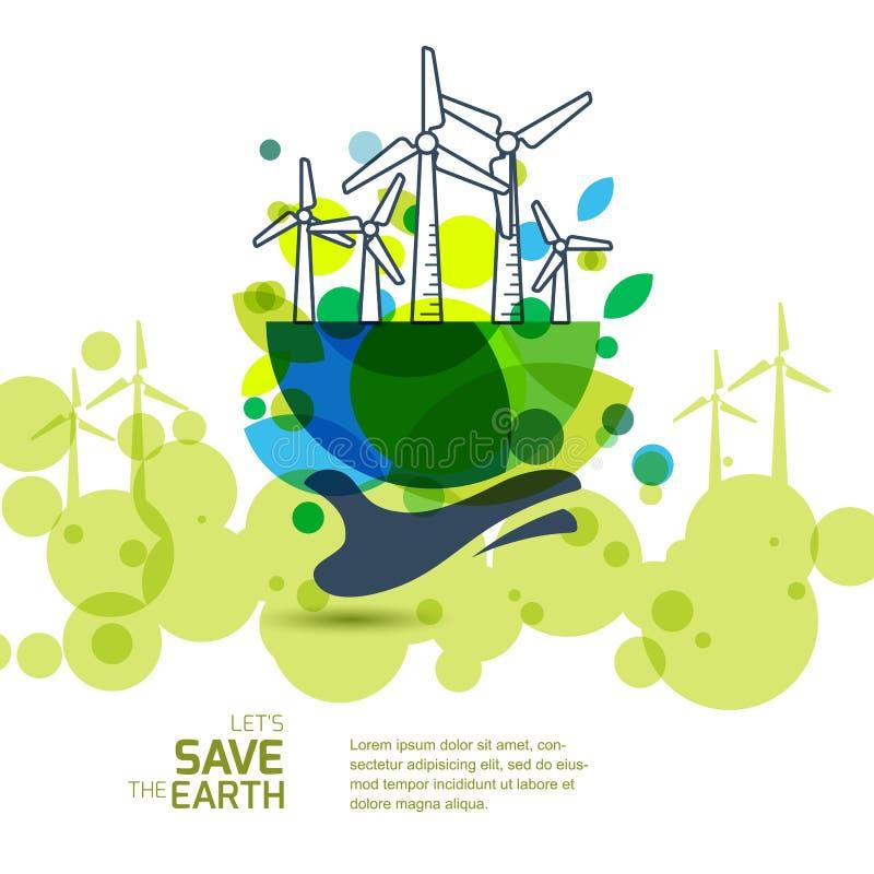 La terre avec des turbines de vent en main Illustration de vecteur des WI illustration stock