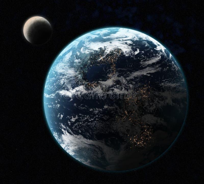 La terre avec la lune illustration de vecteur