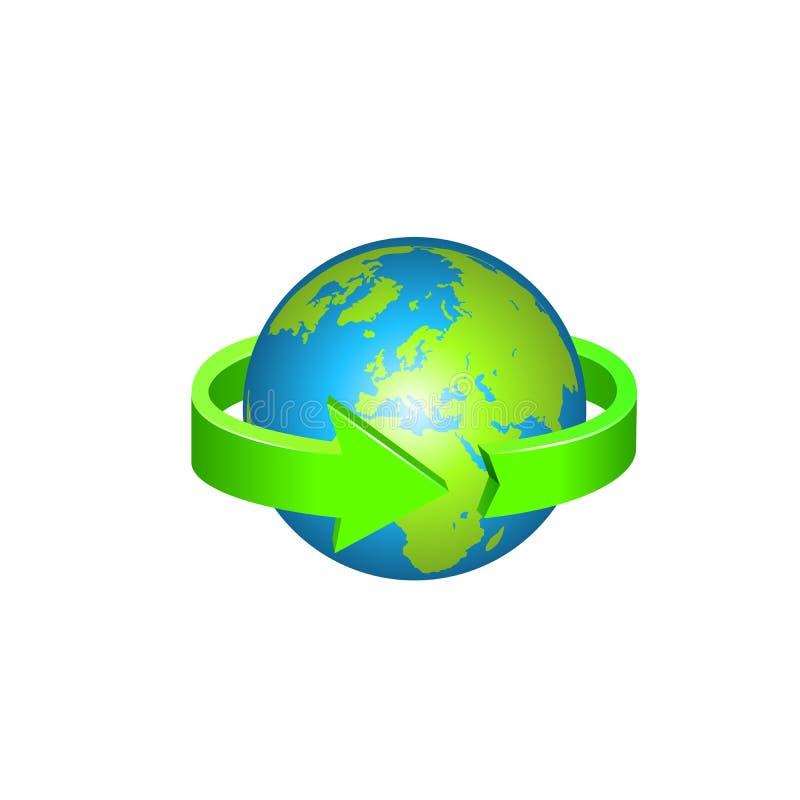 La terre avec le cercle de flèche autour illustration stock