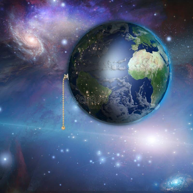 La terre avec le commutateur de traction de nuit et de jour illustration libre de droits