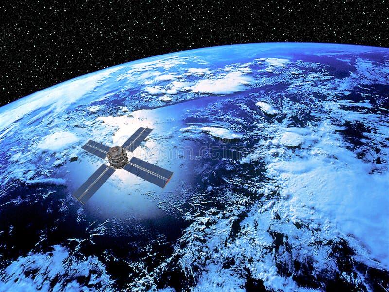 La terre avec le satellite illustration de vecteur
