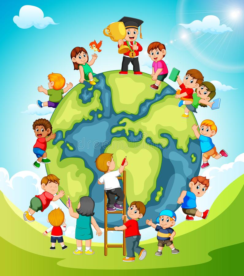 La terre avec les enfants jouant autour de elle illustration libre de droits