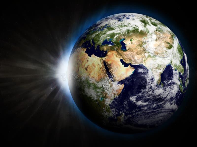 La terre avec Soleil Levant illustration stock