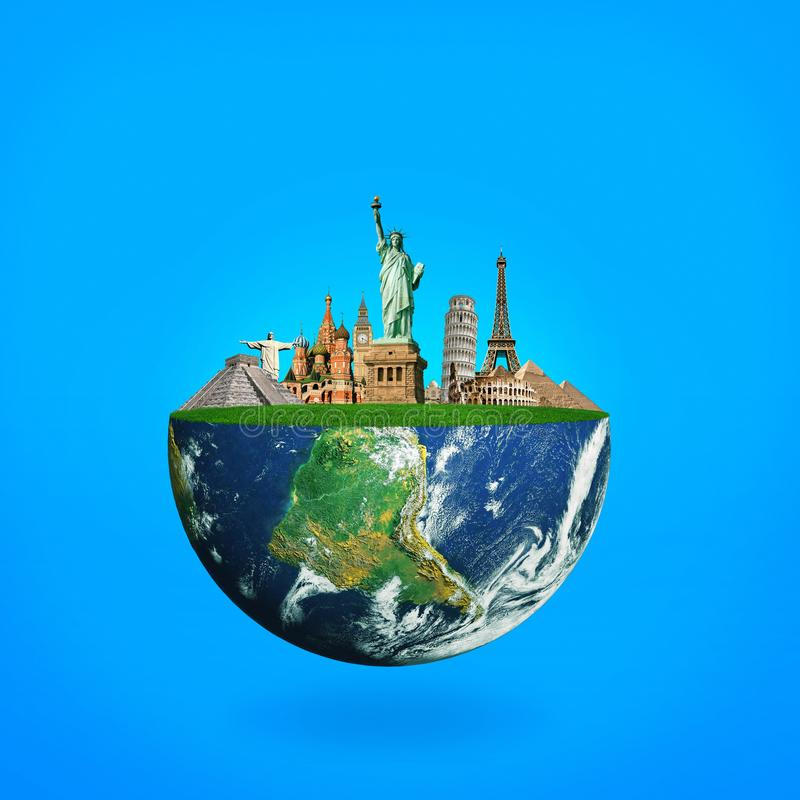 La terre bleue de planète avec des points de repère Le concept du voyage image stock