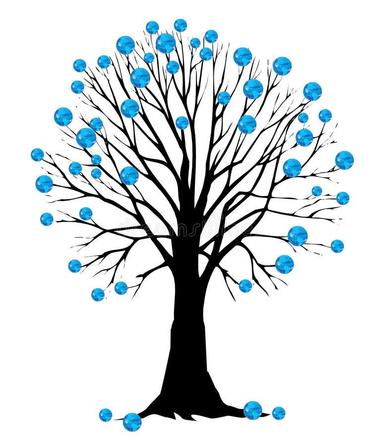 La terre comme lame sur un arbre illustration libre de droits
