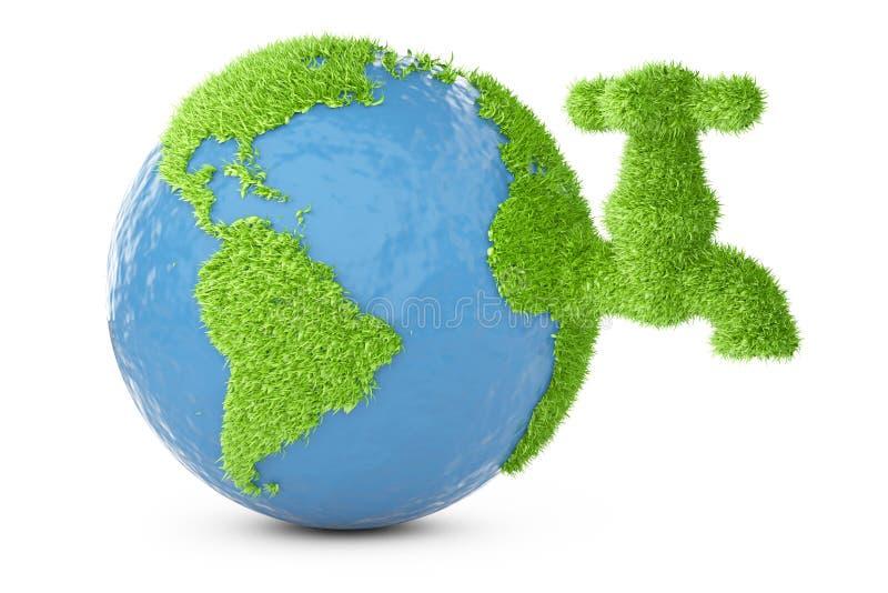 La terre a couvert l'herbe de robinet illustration stock
